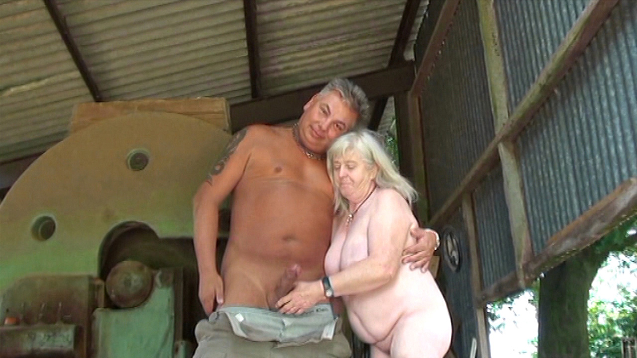 72 Year old Granny fucks outside on the farm